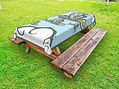 Lunarable Fish Outdoor Tablecloth, Flock of Fish with Wings Flying in the Cloudy Sky Cartoon Woodcut Style Illustration, Decorative Washable Picnic Table Cloth, 58 X 104 Inches, Multicolor