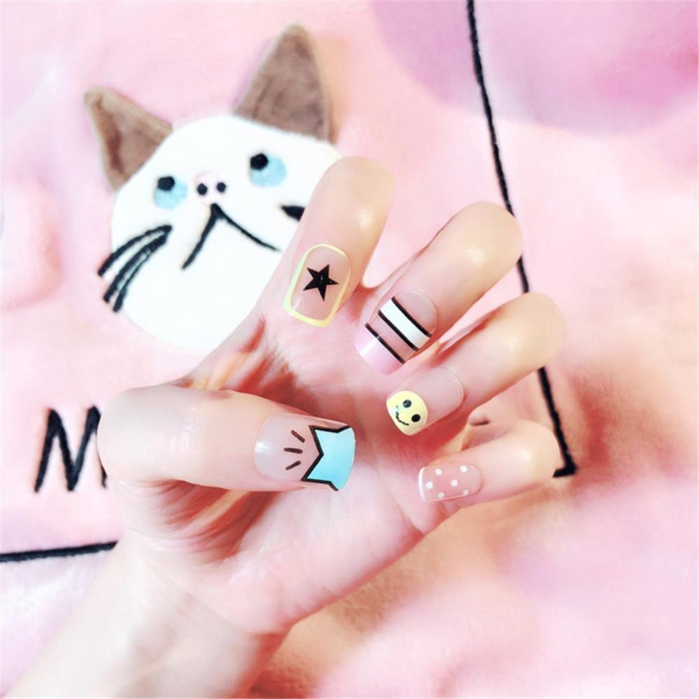 Amazon.com : 24pcs False Nails, False Artificial Nails, Short, Cute Style, with Glue, for Nail Art Decoration : Beauty