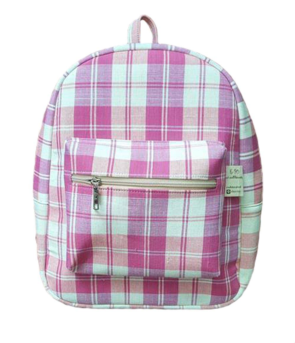 トレンディ マルチカラー 手織り コットン チェック柄 バックパック (ピンク-ホワイト) B075CV5RKM