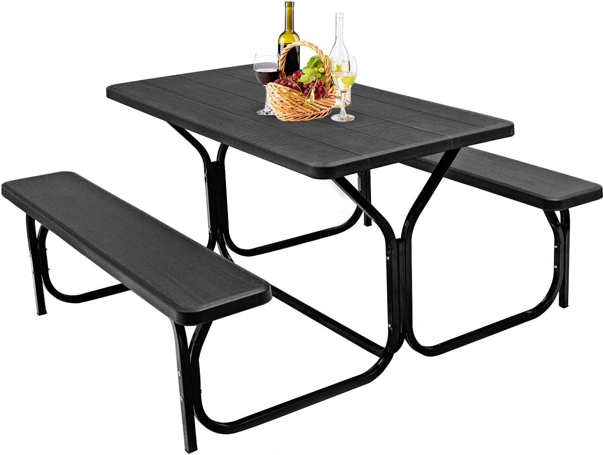 GYMAX Picnic Table, Camping Picnic Tables Bench Set for Outside Backyard Garden Patio Dining Party Black