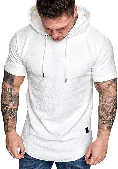 Camisa de Manga Corta con Capucha para Hombre Chaleco Casual para Hombre Chaleco sin Mangas con Capucha Hombre Camiseta de Manga Corta con Capucha de Cuello Redondo de Primavera/Verano de Hombre: Amazon.es: