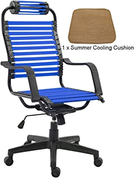 Amazon Com Mmli Chairs Euro Style Adjustable Office Chair Home Leisure Study Room Computer Elastic Flat Rubber Band Swivel High Back Breathable With Arms Graphite Black Frame Furniture Decor