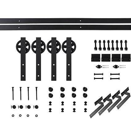 5FT Bypass Double Door Sliding Barn Door Hardware Track Kit Basic Big Black  Spoke Wheel Roller