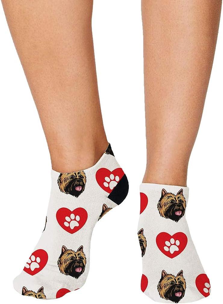Cairn Terrier Dog Heart Paws Pattern Men-Women Adult Ankle Socks