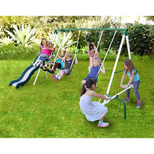 Metal Swing n Slide With A Trapeze And Glider Swing Sets For Kids Outdoor Backyard Playground Teeter Totter Swingset Outside - N Trapeze Swing Slide