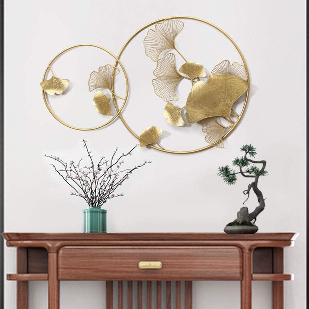 1 POHOVE Sculpture Murale Ginkgo Leaf Crafts Chambre D/écoration pour la Maison H/ôtel Style nordique Ornement Dor/é Salle Estar Cadeau Bureau Fer Rond Art Suspendu