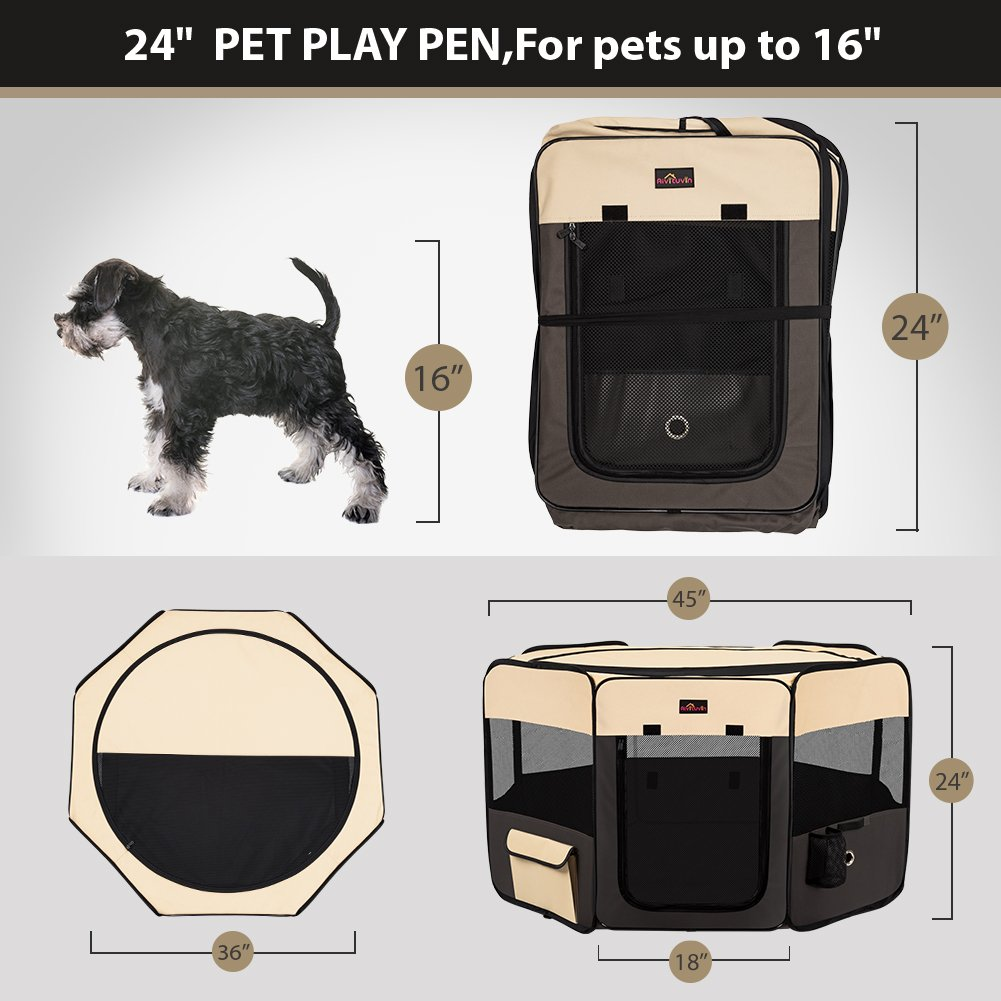 Aivituvin Pet Playpen 45'' Portable Foldable Exercise Pen Compatible Small & Large Dog,Kitten,Rabbit,Puppy-Oxford Cage & Kennel Suit Compatible Indoor/Outdoor Use Removable Shade Cover-Durable (Brown) by Aivituvin (Image #4)