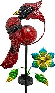 VEWOSTAR Garden Solar Light Outdoor Red Cardinal Bird Solar Pathway Light for Patio Yard Lawn