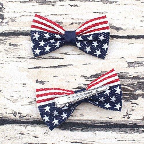 Aysekone 2 Pcs/Pack Baby Girls American Flag Hair Bow Hair Clips Fourth of July Hair Accessories Kids Patriotic Hair Bows Hairgrips