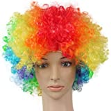 Urvi Creations Funny Parties Multi Colour Malinga Afro Curli Hair Halloween Cosplay Party Wig Holi Celebration Props