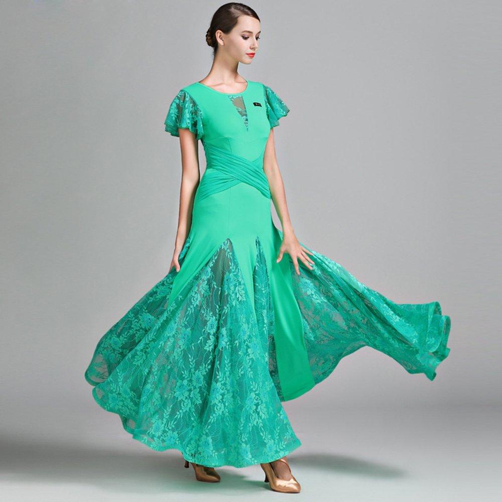 現代の女性大きな振り子レース半袖モダンダンスドレスタンゴとワルツダンスドレスダンスコンペティションスカートロータスリーフスリーブドレスダンスコスチューム B07HHNK8Q9 XL|Green Green XL