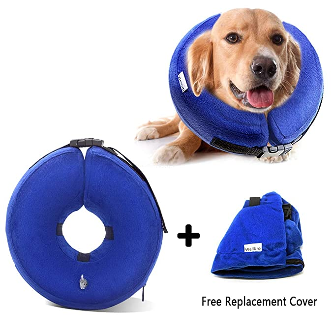 Wellbro Dog Cone Collar, Soft and Inflatable Dog Comfy Cones After Surgery, Adjustable Pet Recovery Collar with Extra Velvet Cover, Protective E-Collars with Buckle for Dogs and Cats (Medium, Blue) best inflatable pet collar