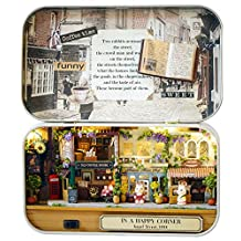 DIY Wooden Miniature Dollhouse Kit- Case box doll houses & LED Light birthday Gift