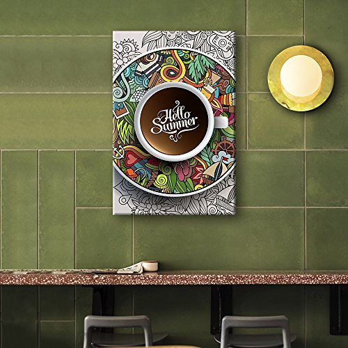 Hello Summer Cup of Coffee on the Graffiti Style Plate