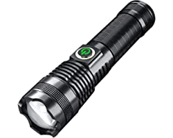 shamjina Lanterna LED com zoom, lanternas táticas de luz portátil com 2000 lúmens altos para iluminação doméstica, acampament