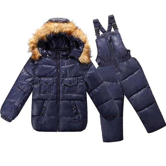 fbe4b5f949f42 KINDOYO Doudoune Blouson - Enfant 2 Pièces Doudoune À Capuche Veste Hiver  Pantalon d hiver