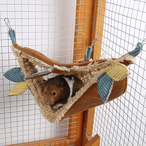 Hamster Hammock, Small Animals Triangle Warm Bed House Cage Hanging Hammock for Rabbit, Chinchilla, Turtles, Squirrel, Hedgehog, Sugar Glider, Rat, Bird, Parrot, Bedding Cage Toy Accessories