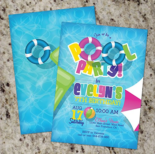 Girl Pool Party Invitations | Pool Birthday Party Invite for Girls PRINTABLE (Mod Invite)