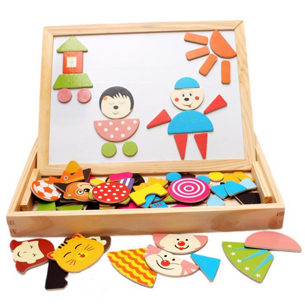 Popular Educational Toy Wooden Easel Toys Board Puzzles 90 Pieces Games Magnetic Puzzle Sketchpad Jigsaw Game For Children Gift Sealive sealiveB330279
