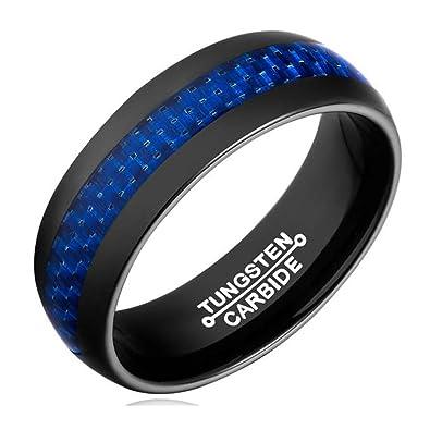 Jewellryus 8mm Black Tungsten Ring Wedding Band Blue Carbon Fiber