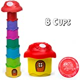 Nesting & Stacking Cups 8 Piece Stack A Mushroom Tower Toy With Embossed Animal Characters. For Indoor, Outdoor, Bathtub, And Beach Fun Play. Multi Colors