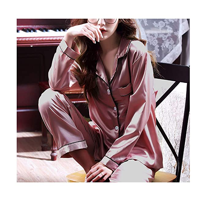 3ebf2be0a8d Seaoeey Ice Silk Sexy Pajama Set for Women Long Sleeves 2 Piece Thin  Comfort Home Service
