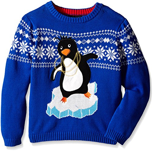 Blizzard Bay Boys' Pimped Out Penguin, Blue/White, (Penguin Ugly Sweater)