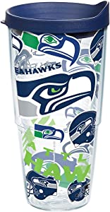 Tervis NFL Seattle Seahawks All Over Tumbler with Wrap and Navy Lid 24oz, Clear