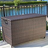 Hampton 150 Gallon Wicker Deck Box, Sturdy Aluminum Frame, Neutral Brown Color, Movable, Outdoor, FOME1024