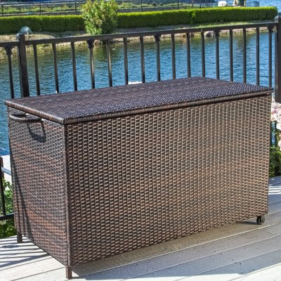 Hampton 150 Gallon Wicker Deck Box, Sturdy Aluminum Frame, Neutral Brown Color, Movable, Outdoor, FOME1024 by Home Loft Concepts