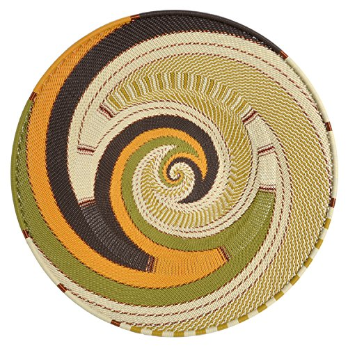 African Zulu Telephone Wire - Fair Trade Zulu Telephone Wire 12-inch Platter Basket, African Earth