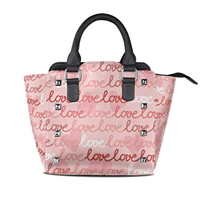 Image Unavailable. Image not available for. Color  Handbags Pink Love  Letter Womens Genuine Leather Vintage Tote Shoulder ... 6c3e16072c096