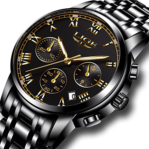 Watch,Men's Fashion Luxury Chronograph Sports Watches,Waterproof Analog Quartz Wrist (Classic Gold Dress Watch)