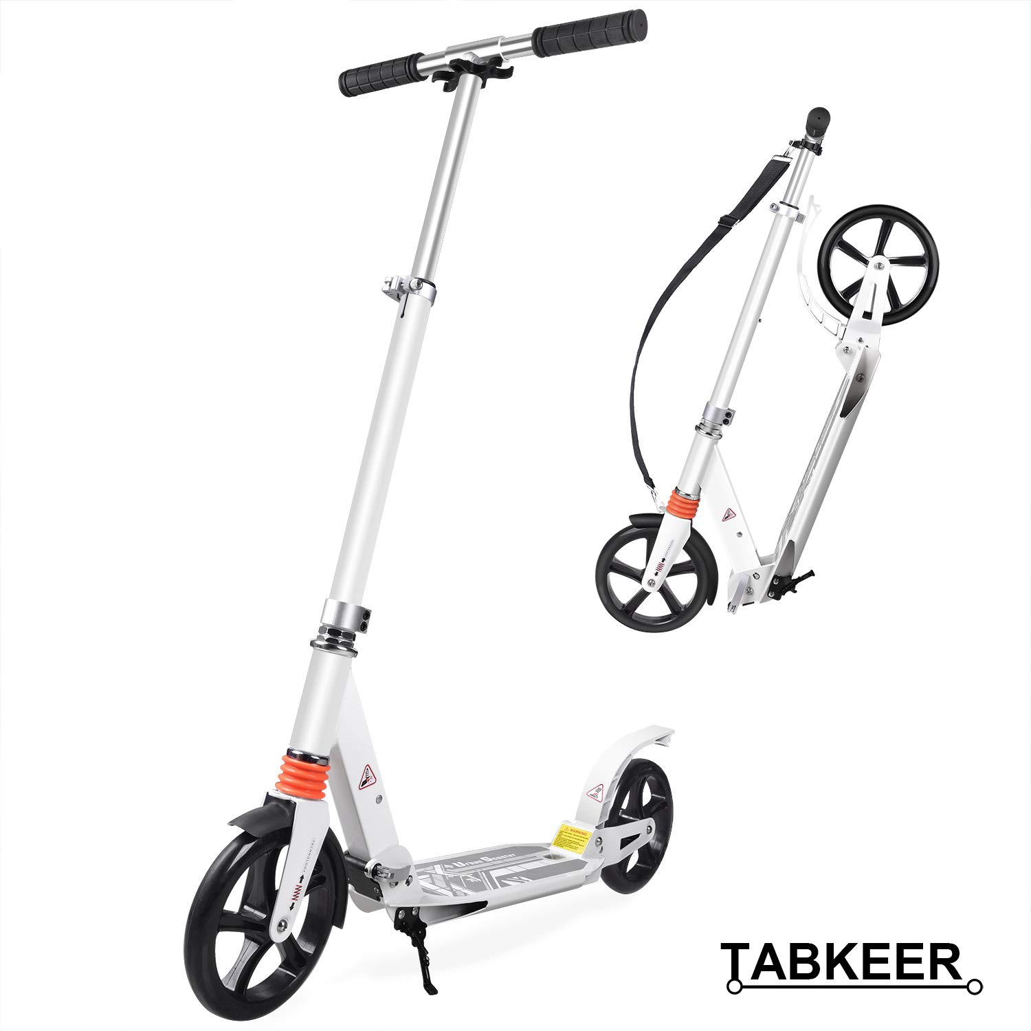 TABKEER Scooter for Adults Teens, Aluminum Alloy Foldable Adult Scooter Adjustable Height Handlebars and Kickstand with 8 inches Big Wheels Lightweight Scooters for Kids Age 12 Up by TABKEER
