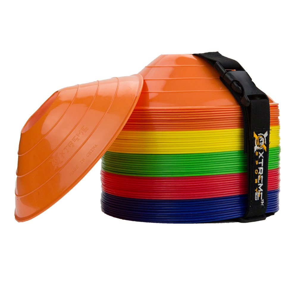 Premium Soccer/Football Agility Cones - 50-Pack, Easy-Stack, Multi-Colored Disc Cone Ideal for Speed Training, Kids, Coaches and All Sports. Convenient Carry Strap Included. Xtreme Sport DV
