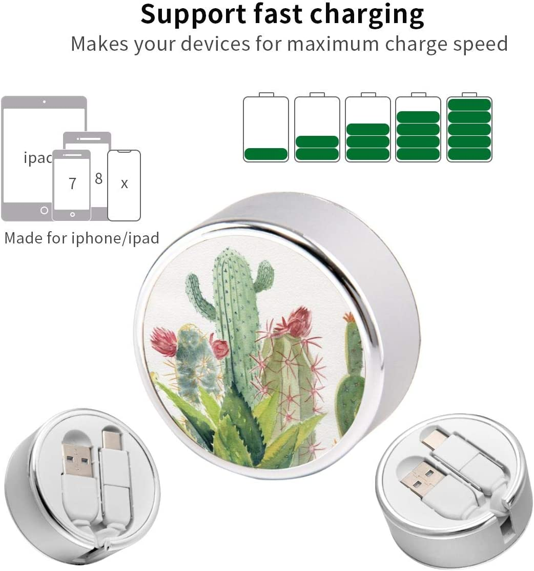 Multi Quick USB Charging Cable,Cactus Watercolor 2 in1 Fast Charger Cord Connector High Speed Durable Charging Cord Compatible with iPhone//Tablets//Samsung Galaxy//iPad and More
