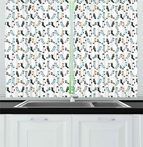 Cartoon Kitchen Curtains by Ambesonne, Messy Teenager Kids Room Rain of Socks Laundry Themed Funny Art, Window Drapes 2 Panels Set for Kitchen Cafe, 55 W X 39 L Inches, Beige Dark Blue and Aqua Blue