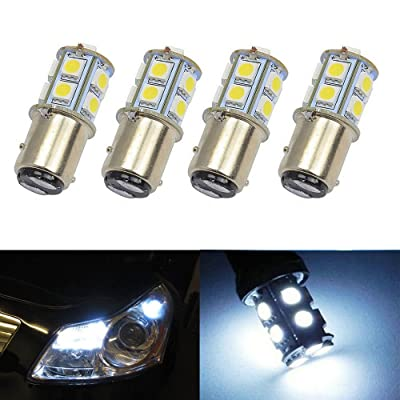 (Pack of 4) 5050 Chip S25 1157 2057 2357 7528 1016 1334 BAY15D LED Bulbs with Projector Interior RV Camper Brake tail light Xenon White 6000K: Automotive