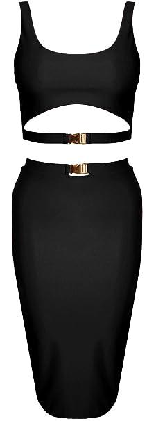 Womens New Ladies Halter Neck Two Piece Crop Top Slinky Bodycon Pencil Skirt Set