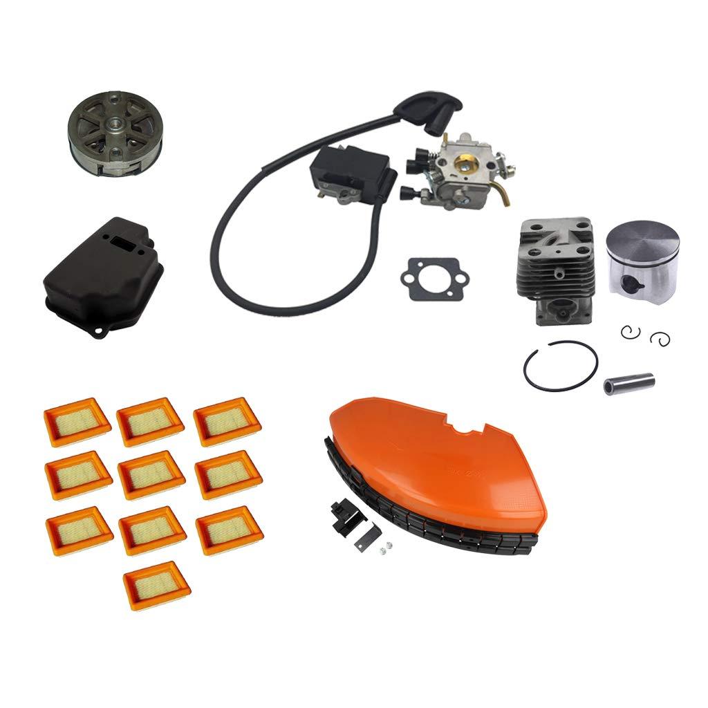 B Blesiya Carburetor Carb Kit Clutch Strimmer Guard Trimmers Air Filter Muffler Cylinder Rebuild Kit for Stihl FS120 FS200 FS250 FS300 FS350