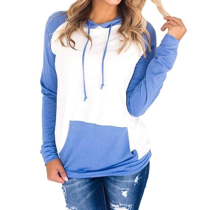 beautyjourney Sudadera con Capucha Patchwork de Manga Larga para Mujer Camiseta básica Fina Blusas de Jersey Sudadera con Capucha Tops Chaqueta: Amazon.es: ...