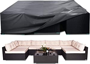 AKEfit Patio Furniture Set Cover, Heavy Duty Durable Waterproof Outdoor Furniture Sectional Cover for Rectangular Table Chair Sofa Weatherproof Lawn Furniture Protector 110x84x28in