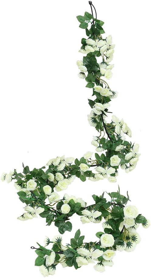 Luyue 2 Pack 69 Heads Artificial Rose Vine Flowers Garlands Decorations Floral Hanging Garden Craft Rose Ivy Plants for Wedding Arch Arrangement (White)