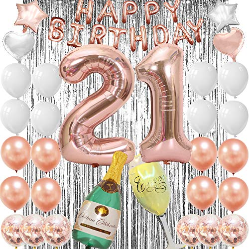 21st Birthday Decorations-Rose Gold 21 Birthday Party Supplies, 21st Birthday Balloons for Her for Finally Legal 21st Birthday Party