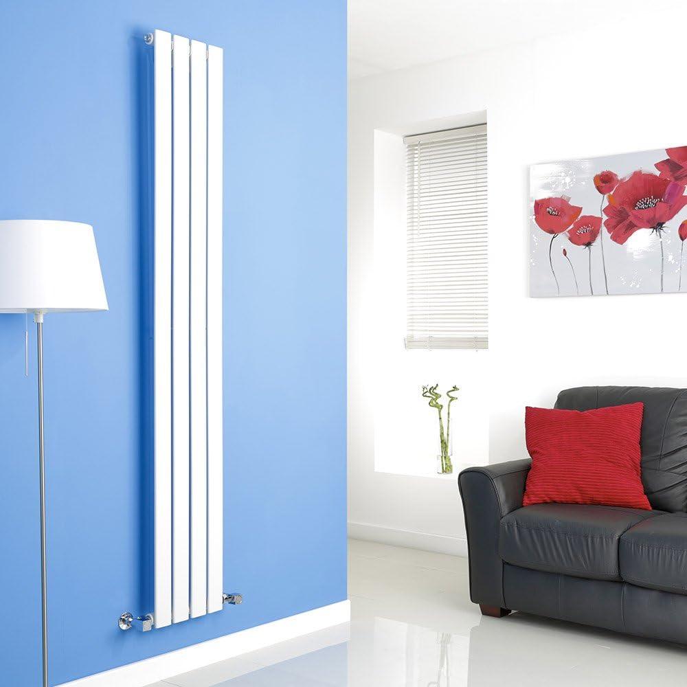 Vertikaler Design-Heizk/örper aus Stahl in Wei/ß RAL 9016 Milano Hudson Reed Heizk/örper Delta - 1780 x 350 mm