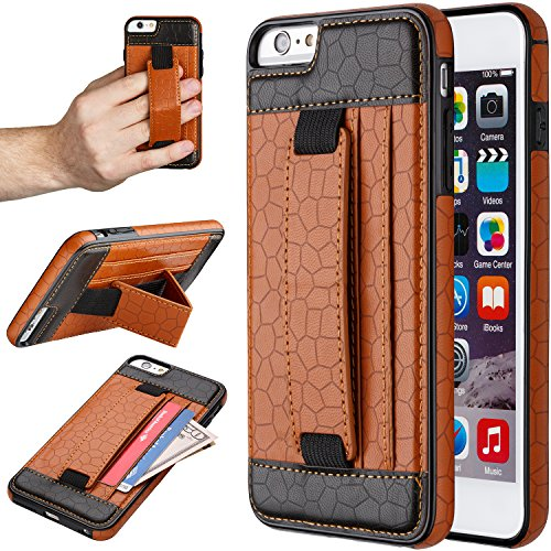 "iPhone 6S Plus Case, Moona Wallet Case for iPhone 6 6S Plus with KickStand ""1 Year Warranty"" Apple iPhone 6 Plus Wallet Case, PU Leather Case, iPhone 6 Plus Thin Case, iPhone6 Plus Case (Tan/Black)"