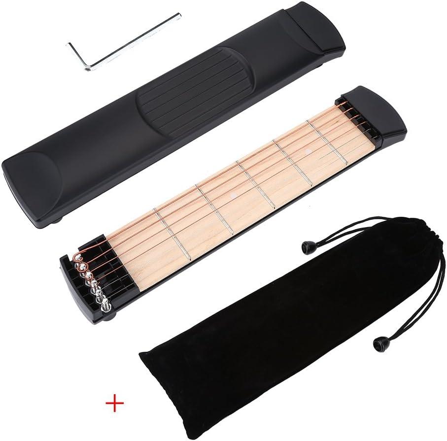 Portátil Guitarra Acústica Bolsillo Herramienta Práctica Gadget, Guitarra de bolsillo, Herramienta de práctica, Ejercicio con dedos de guitarra y Herramienta de práctica de acordes 6 cuerdas 6 Traste