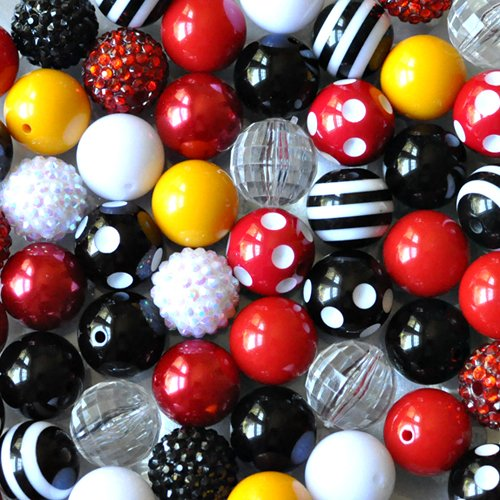 - Mouse Cruise Red, Black, White, and Yellow 20mm Chunky Bubblegum Beads 50 Piece Bulk Set from Boutique Craft Supplies