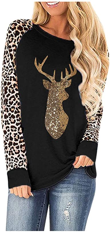 STORTO Women Christmas Patchwork Hoodie Sweatshirt Reindeer Print Drawstring Pullover Tops with Pocket