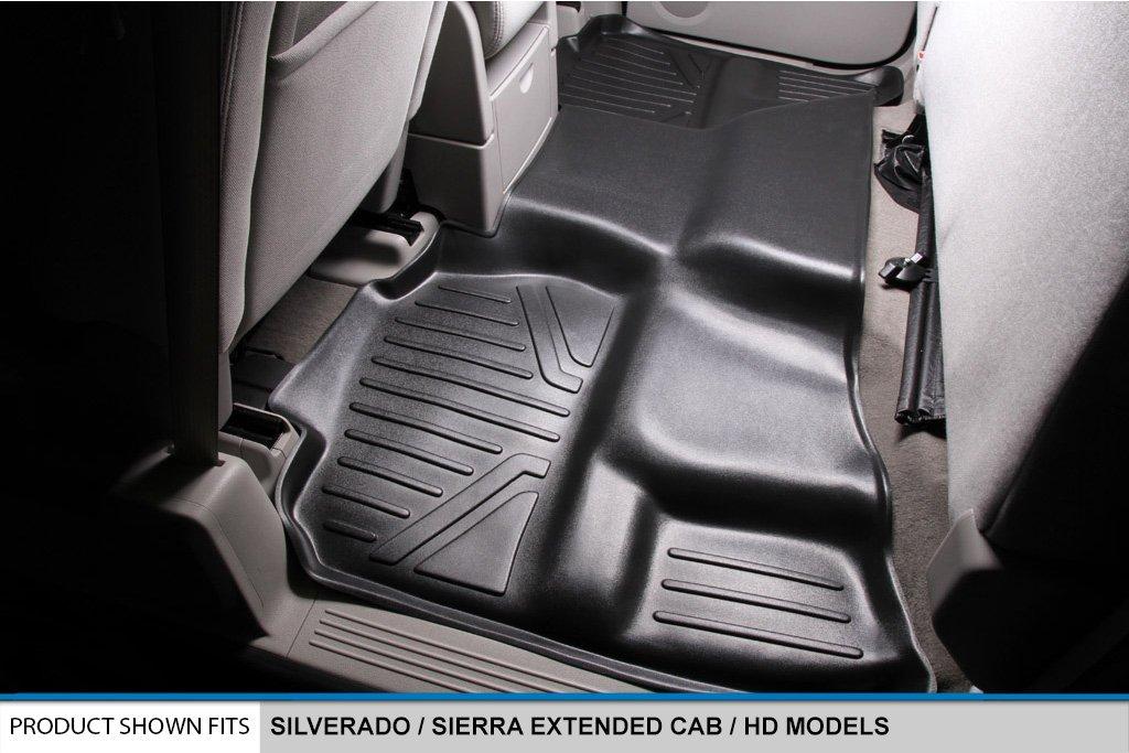 MAXLINER Floor Mats 2nd Row Liner Black for 2007-2013 Silverado//Sierra 1500//2500//3500 HD Extended Cab